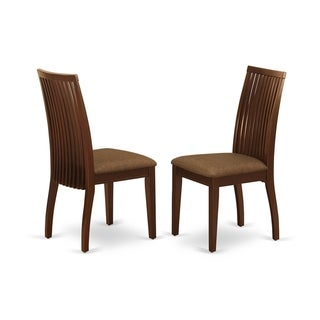 Rectangle Table and Parson Chairs in Brown Linen Fabric (Number of Chairs Option)