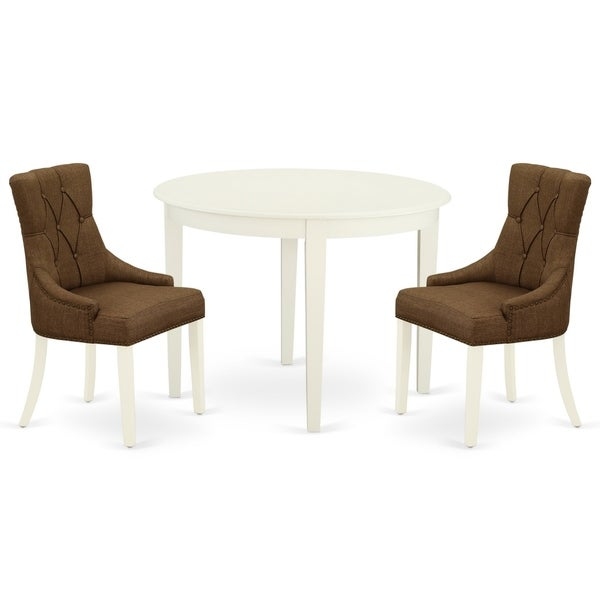 Round Small Table and Parson Chairs in Dark Coffee Linen Fabric (Number of Chairs Option)