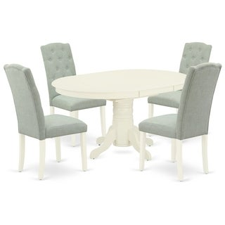 Oval Table and Parson Chairs in Baby Blue Linen Fabric (Number of Chairs Option)