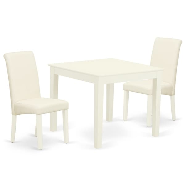 Square Table and Parson Chairs in Cream Linen Fabric (Number of Chairs Option)
