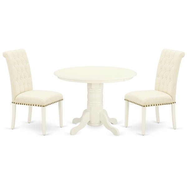 Round Small Table and Parson Chairs in Light Beige Linen Fabric (Number of Chairs Option)