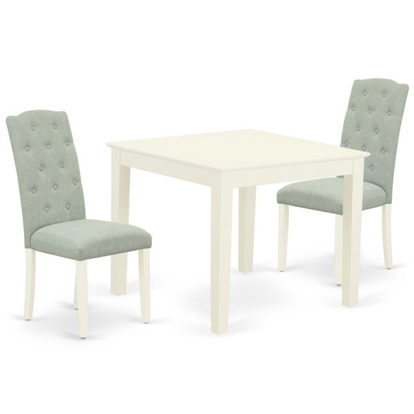 Square Table and Parson Chairs in Baby Blue Linen Fabric (Number of Chairs Option)