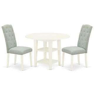 Round Small Table and Parson Chairs in Baby Blue Linen Fabric (Number of Chairs Option)