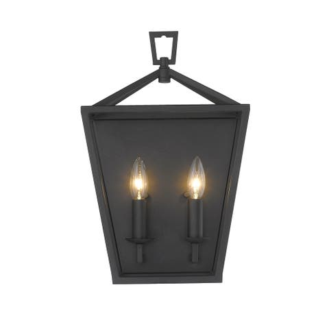 Lantern No Glass Traditional Wall Sconce Light Fixture in Black