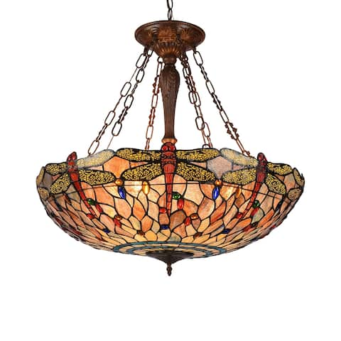 Gracewood Hollow Lomami 4-light Antique Dark Bronze Inverted Pendant with Stained Glass Dragonfly Dome Shade