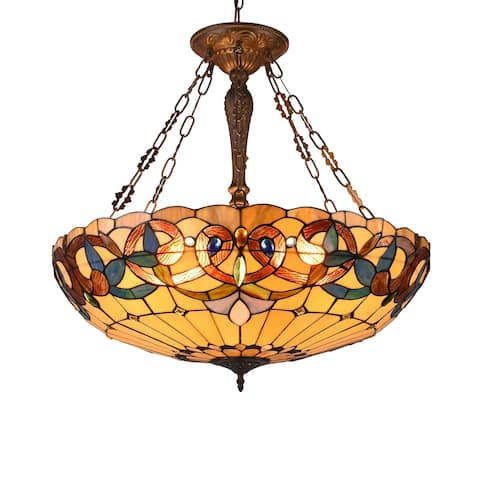 Gracewood Hollow Tchichelle 4-light Stained Glass and Antique Dark Bronze Inverted Pendant - Multi-Color/Dark Anti-Bronze