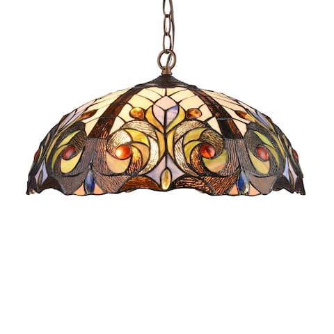 Gracewood Hollow Kabamba 2-light Dark Bronze Hanging Pendant with Multicolored Stained Glass Dome Shade