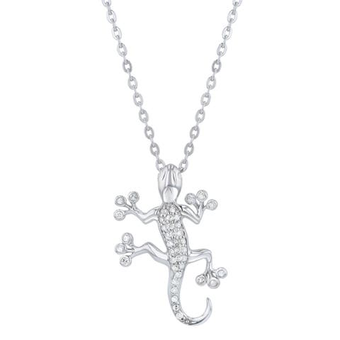 Beverly Hills Charm Sterling Silver 1/5ct Diamond Gecko Necklace
