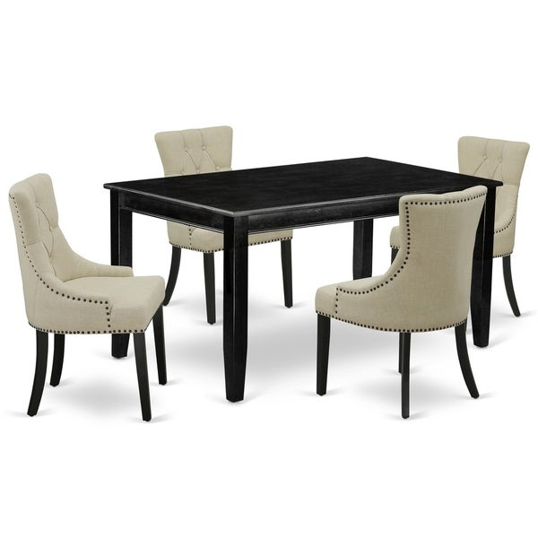 Rectangle Table and Parson Chairs in Light Sable Linen Fabric (Number of Chairs Option)
