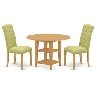 Round Small Table and Parson Chairs in Lime Green Linen Fabric (Number of Chairs Option)
