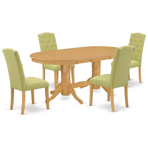Oval Table and Parson Chairs in Lime Green Linen Fabric (Number of Chairs Option)