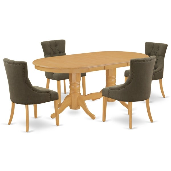 Oval Table and Parson Chairs in Dark Gotham Grey Linen Fabric (Number of Chairs Option)