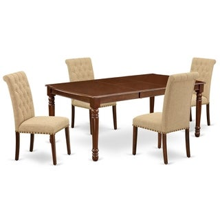 Rectangle Table and Parson Chairs in Light Fawn Linen Fabric (Number of Chairs and bench Option)