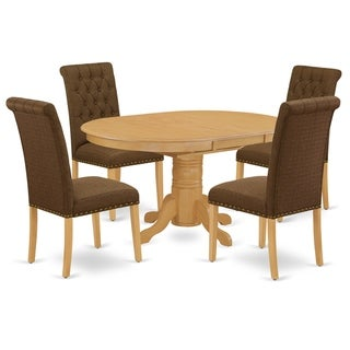 Oval Table and Parson Chairs in Dark Coffee Linen Fabric (Number of Chairs Option)