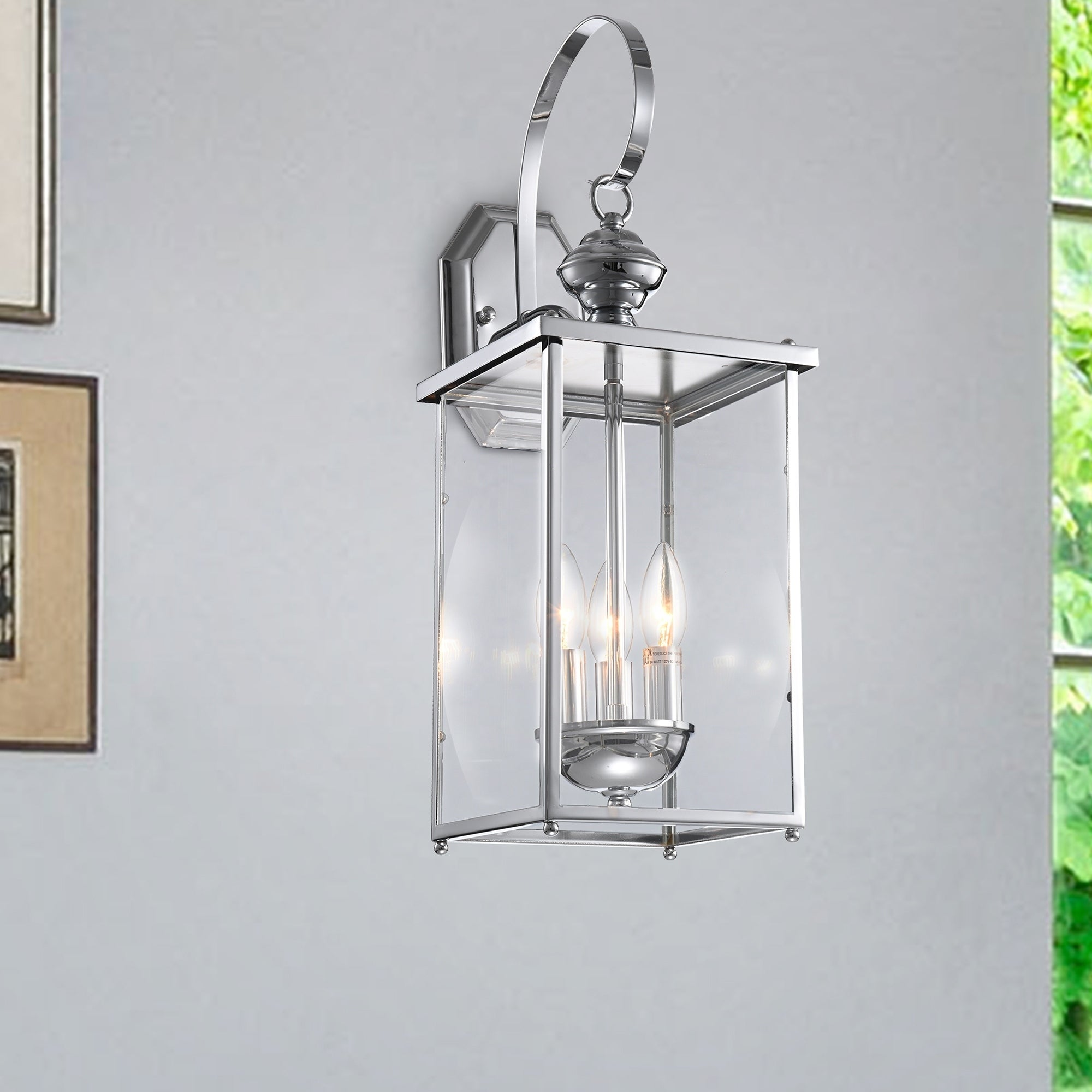 Chrome Outdoor Entrance Wall Sconce