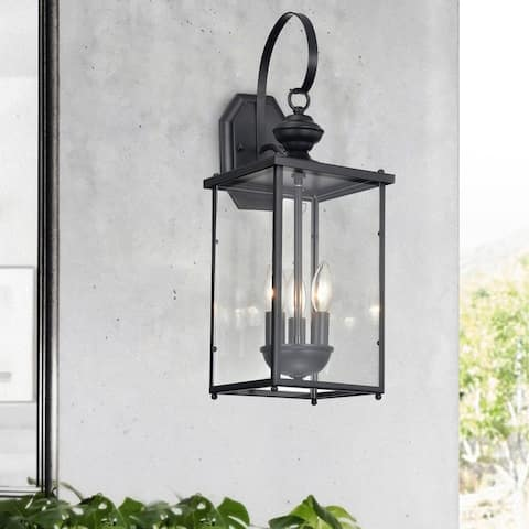Nalu 3-Light Matte Black Outdoor Entrance Wall Sconce