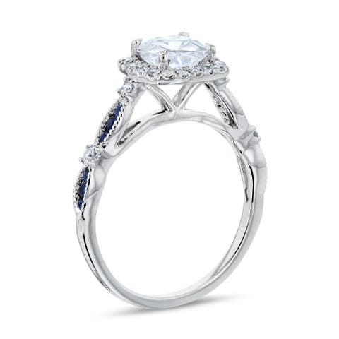 Annello by Kobelli 14k White Gold 1ct Round Forever One Moissanite Blue Sapphire and White Diamond Engagement Ring, 1-1/3ct TGW