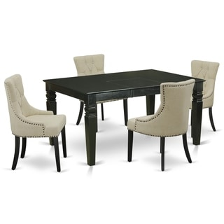 Rectangle Table and Parson Chairs in Light Beige Linen Fabric (Number of Chairs Option)