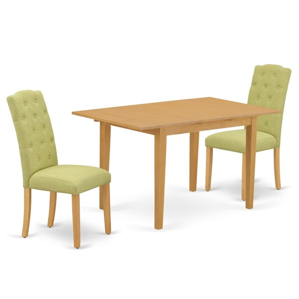 Rectangle Table And Parson Chairs In Lime Green Linen Fabric (Number Of Chairs Option)   Yellow   3 Piece Sets   2 by East West Furniture