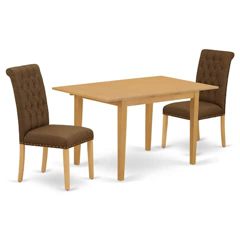 Rectangle Table and Parson Chairs in Dark Coffee Linen Fabric (Number of Chairs Option)