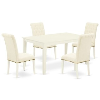 Rectangle Table and Parson Chairs in Light Beige Linen Fabric (Number of Chairs and bench Option)