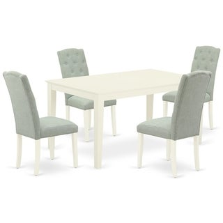Rectangle Table and Parson Chairs in Baby Blue Linen Fabric (Number of Chairs and bench Option)