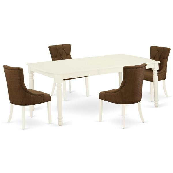 Rectangle Table and Parson Chairs in Dark Coffee Linen Fabric (Number of Chairs and bench Option)
