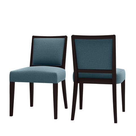Copper Grove Olin Upholstered Espresso Finish Armless Dining Chairs (Set of 2)