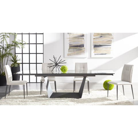 Strick & Bolton Cothran Matte Grey Metal/ Tempered-glass Dining Table