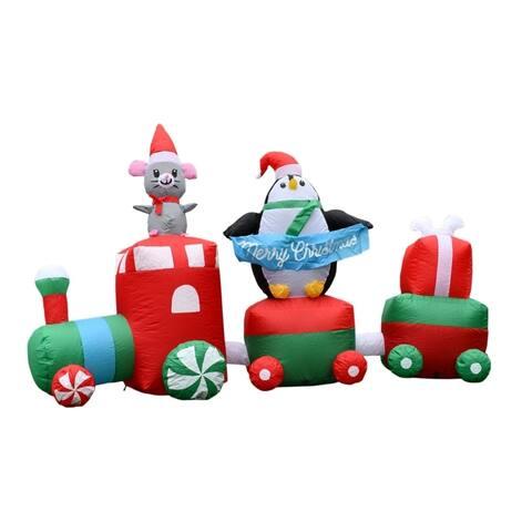 ALEKO Inflatable LED Merry Christmas Choo Choo Train 7 Foot