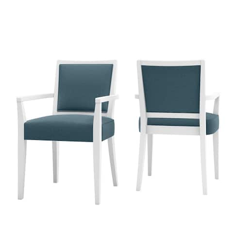 Copper Grove Olin Upholstered White Finish Arm Dining Chairs (Set of 2)