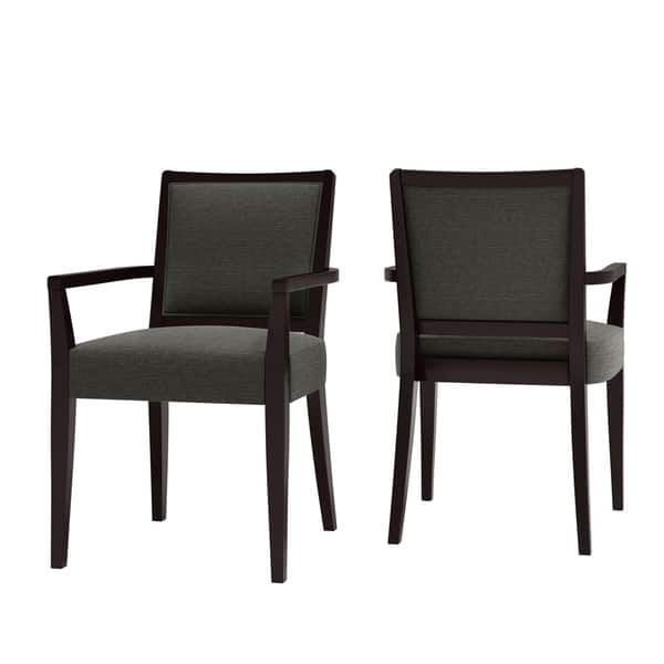Shop Copper Grove Olin Upholstered Espresso Finish Arm Dining Chairs Set Of 2 On Sale Overstock 29821356