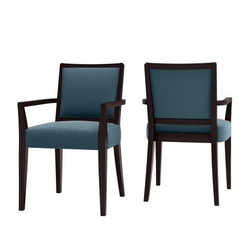 Copper Grove Olin Upholstered Espresso Finish Arm Dining Chairs (Set of 2)