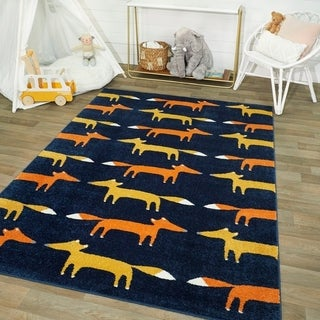 Mod-Tod Modern Fox Pattern Kids Rug Boys & Girls - Faux Fox