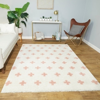 Taylor & Olive Parralena Off-white/ Peach Geometric Shag Rug