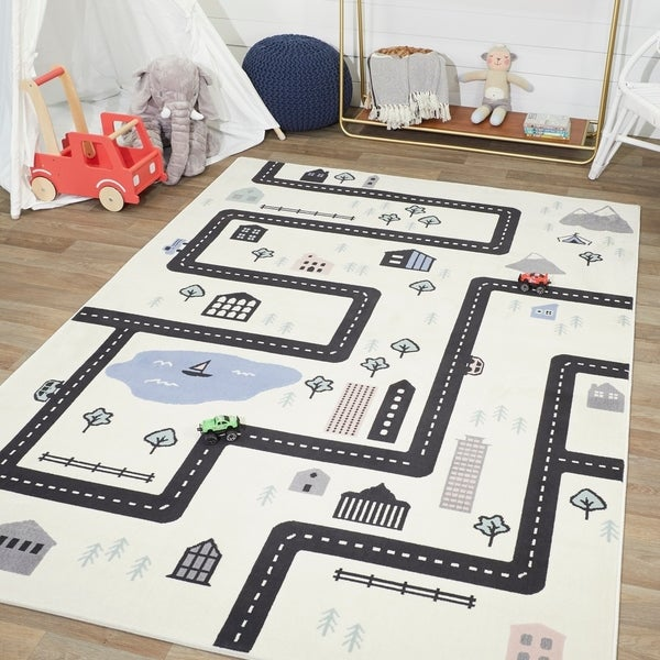 Short-Pile Children's Room Play Rug Large Star Edging 3D Effect In Pink White