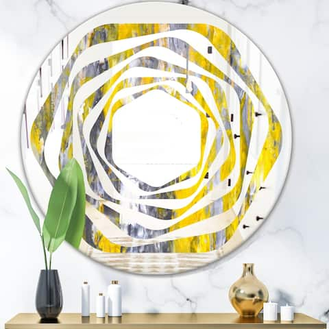 Designart 'Grey and Yellow Abstract Pattern' Modern Round or Oval Wall Mirror - Whirl