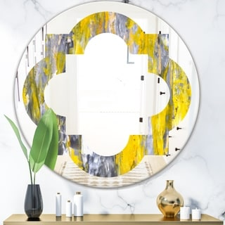Designart 'Grey and Yellow Abstract Pattern' Modern Round or Oval Wall Mirror - Quatrefoil