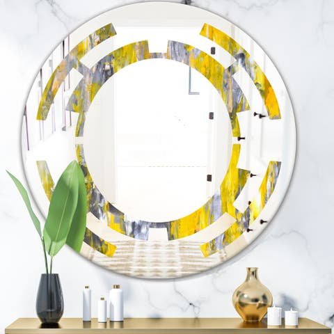 Designart 'Grey and Yellow Abstract Pattern' Modern Round or Oval Wall Mirror - Space