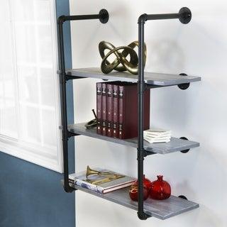 Carbon Loft Foronjy Black Pipe 3-level Weathered Grey Floating Wooden Bookshelves