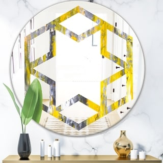 Designart 'Grey and Yellow Abstract Pattern' Modern Round or Oval Wall Mirror - Hexagon Star