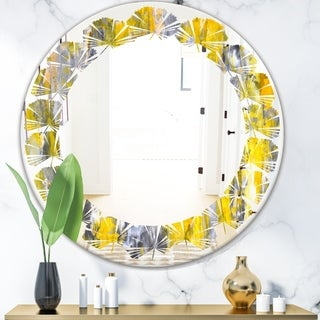Designart 'Grey and Yellow Abstract Pattern' Modern Round or Oval Wall Mirror - Leaves