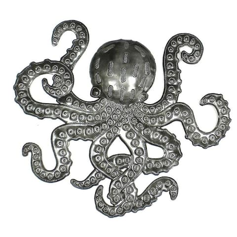 The Curated Nomad 16-inch Embossed Octopus Recycled Metal Haitian Wall Art