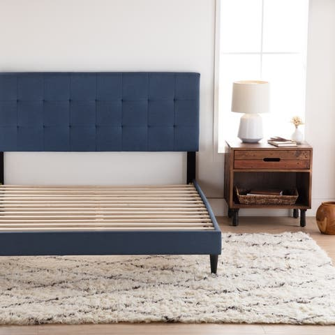 Copper Grove Ayrum Upholstered Bed Frame with Square Tufted Headboard