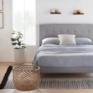 Brookside Cara Upholstered Platform Bed Frame with Square Tufted Headboard