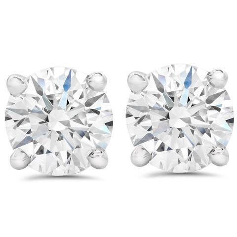 1 1/2 ct. Round Diamond 14k White Gold Screw-back Studs