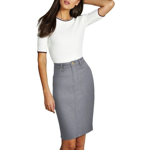 Lexi Women's Super Comfy Perfect Fit Stretch Midi Denim Skirt
