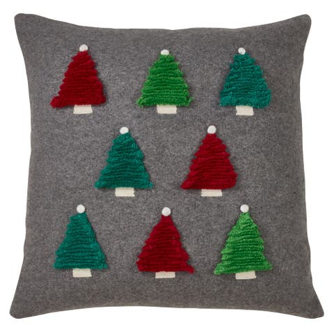Throw Pillow with Christmas Tree Design