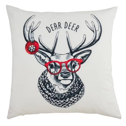Throw Pillow with Christmas Hipster Reindeer Design
