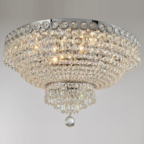 French Empire 6 Light 20 in. Chrome Finish Crystal Flush Mount Ceiling Light Round Large - Large Flush Mount